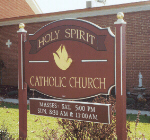 carved sign holy spirit church