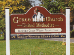 carved sign grace united methodist church